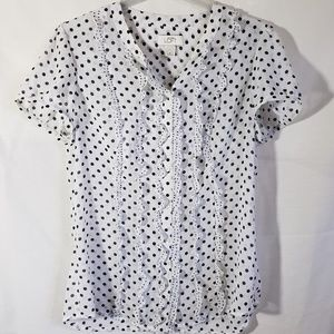 Ann Taylor Loft Polka Dot Short Sleeve Size 8
